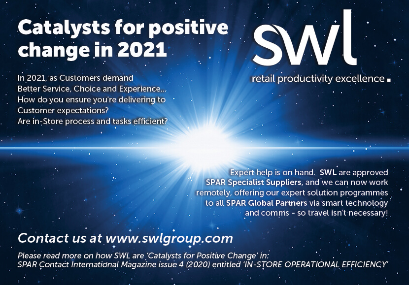 SWL advertisement in SPAR International's CONTACT magazine. Catalysts for positive change in 2021 - instore operational efficiency